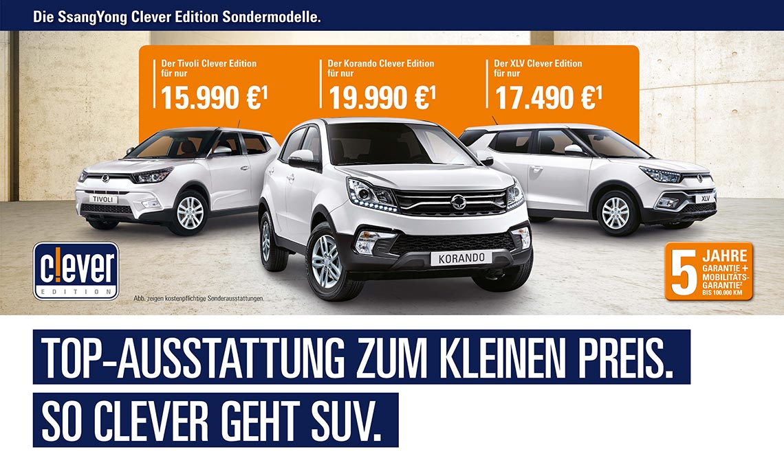 Ssang Yong Clever Edition Sondermodelle | Maibom Gruppe